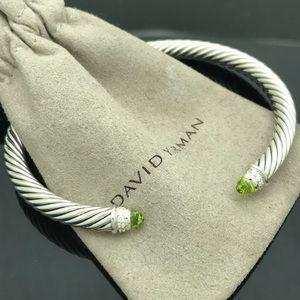 D.Yurman Peridot Diamond Cuff 5mm Bracelet